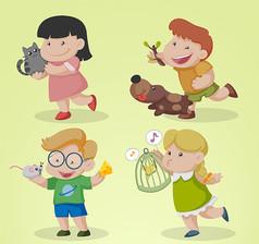 4款卡通快乐儿童矢量素材