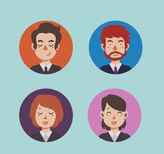 4款卡通商务人物头像矢量图