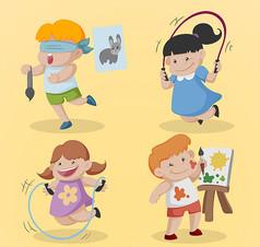 4款卡通学艺术的儿童矢量素材
