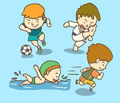 4款卡通运动男孩矢量素材