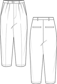 正反面休闲裤AI款式图模板素材