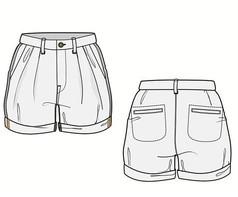 正反面休闲裤西裤AI款式图素材