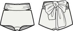 时尚女装短裤AI款式图模板素材