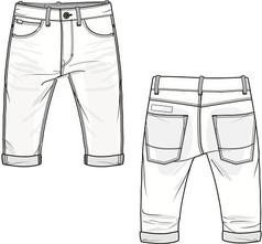 正反面牛仔短裤AI款式图素材