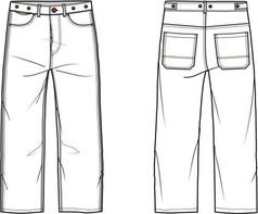 运动休闲裤AI款式图模板素材